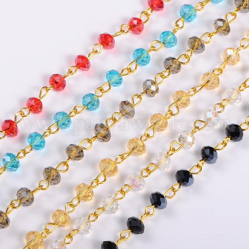handmade abacus glass beads chains for neckalces bracelets making with golden iron eyepins 393