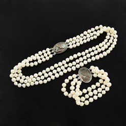 "Beige Natural Pearl Jewelry Sets, Necklaces and Bracelets, with Shell Statue Girl and Brass Oval Box Clasps, Multi-strand, Beige, 18.1"", 210mm"