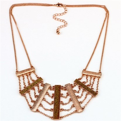 Alloy Bib Necklaces, Tiered Necklaces, with Glass Paper-1