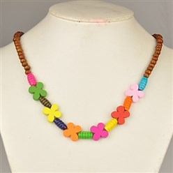Sienna Colorful Wood Necklaces for Kids, Children's Day Gifts, Stretchy, Sienna, 18 inches