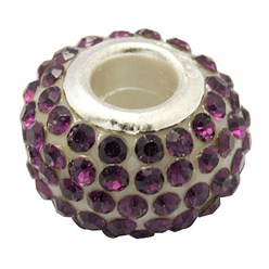 Amethyst Grade A Rhinestone European Beads, Large Hole Beads, Resin, with Silver Color Brass Core, Rondelle, Amethyst, 12x8mm, Hole: 4mm
