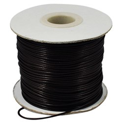 Black Korean Waxed Polyester Cord, Bead Cord, Black, 0.8mm; about 185yards/roll