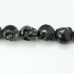 Black Handmade Porcelain Beads Strands, Bright Glazed Style, Skull, Halloween, Black, about 15mm wide, 18mm long, 18mm thick, Hole: 1.5mm