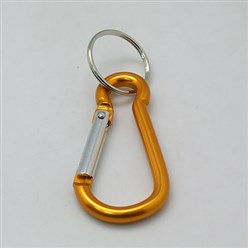 Gold Aluminum Oval Carabiner Keychain, with Iron Clasps, Gold, 60.5x29mm