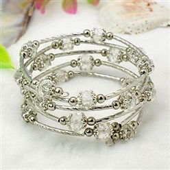 Clear Fashion Wrap Bracelets, with Rondelle Glass Beads, Tibetan Style Bead Caps, Brass Tube Beads and Steel Memory Wire, Clear, Inner Diameter: 55mm