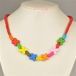 Red Colorful Wood Necklaces for Kids, Children's Day Gifts, Stretchy, Red, 18 inches