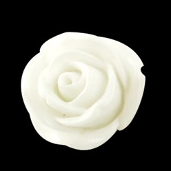 White Resin Cabochon, Flower, White, 15x6mm