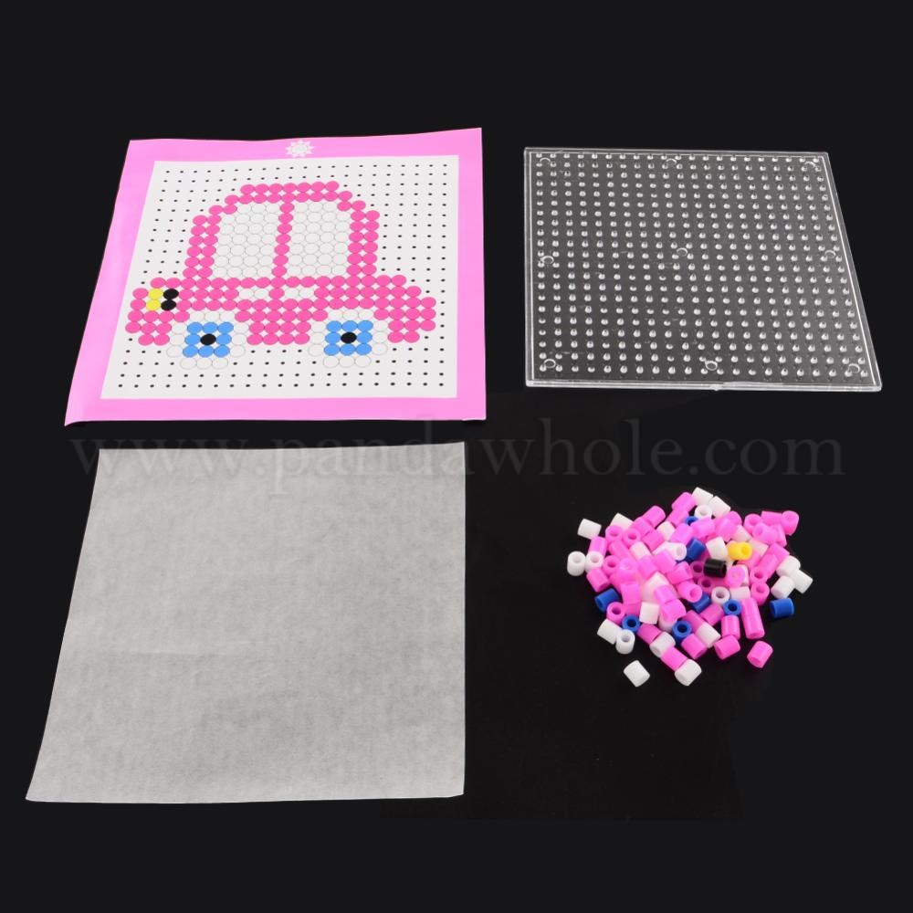 Car DIY Melty Beads Fuse Beads Sets: Fuse Beads, ABC Pegboards, Cardboard  Templates, and Gummed Paper, 110x110mm