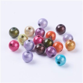 Spray Painted Acrylic Beads, Miracle Beads, Bead in Bead, Round, 8mm, Hole: 1.8mm