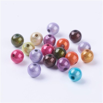 Spray Painted Miracle Acrylic Beads, Bead in Bead, Round, 8mm, Hole: 1.8mm