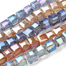 Electroplate Glass Bead Strands, Faceted, Cube