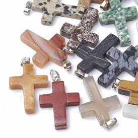 Natural & Synthetic Mixed Stone Pendants, Dyed, with Platinum Tone Brass Findings, Cross