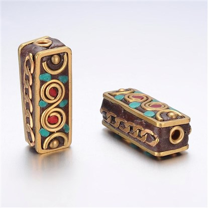 Handmade Indonesia Beads, with Alloy Findings, Cuboid-1