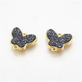 Electroplate Druzy Resin Links, with Golden Tone Brass Findings, Butterfly