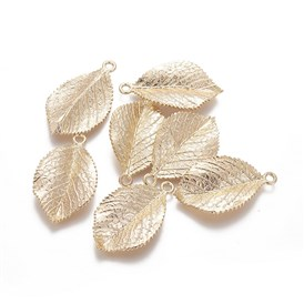 Brass Pendants, Leaf, Real Gold Plated