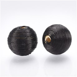 Black Polyester Cord Fabric Beads, with Wood Inside, Round, Black, 16~17x15.5~16mm, Hole: 3~4mm