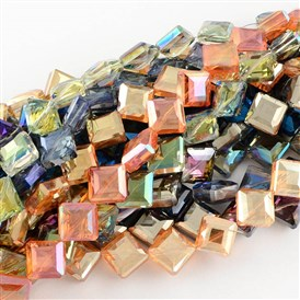 Transparent Electroplate Faceted Glass Beads Strands, Square, 17x17x7.5mm, Hole: 2mm; about 40pcs/strand, 25.1""