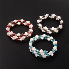 Two Loops Natural Pearl Warp Bracelets, with Glass Beads and Platinum Tone Iron Beads, 50mm