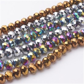 Electroplate Glass Beads Strands, Faceted, Rondelle