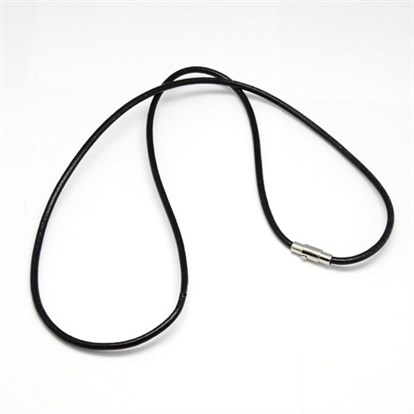 "Leather Cords for Necklace Makings, with 304 Stainless Steel Clasps, Stainless Steel Color, 25""(635mm)-1"