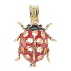 Golden Alloy Enamel Diffuser Locket Pendants, with Micro Pave Cubic Zirconia, Cage Pendants, Ladybug, Red, Golden, 35x25x15.5mm, Hole: 3x6mm; Inner Measure: 20.5x13mm