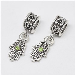 Peridot Alloy European Dangle Beads, with Rhinestones, Large Hole Pendants, Long-Lasting Plated, Hamsa Hand/Hand of Fatima/Hand of Miriam with Eye, Antique Silver, Peridot, 25mm, Hole: 4.5mm; Hamsa Hand/Hand of Fatima/Hand of Miriam with Eye: 15x8x3mm