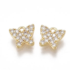 Brass Micro Pave Cubic Zirconia Charms, Real 18K Gold Plated, Butterfly, Clear