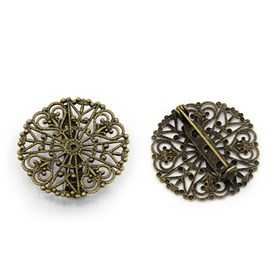 Brooch Findings, with Brass Filigree Trays and Iron Brooch back Bar Pins, Nickel Free, 31x7mm, Hole: 1mm, Pin: 0.8mm, Fit for 1mm rhinestone