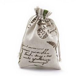 CoconutBrown Polycotton(Polyester Cotton) Packing Pouches Drawstring Bags, with Printed Leaf and Word, CoconutBrown, 18x13cm