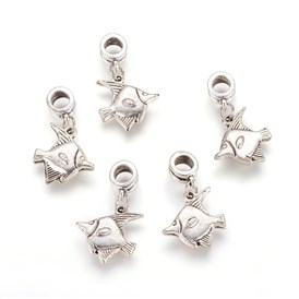 Alloy European Dangle Beads, Fish, 29mm, Hole: 5mm