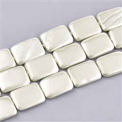 LemonChiffon Shell Pearl Beads Strands, Dyed, Rectangle, LemonChiffon, 20~21x15x2.5~4mm, Hole: 1mm; about 20pcs/strand, 16.1""