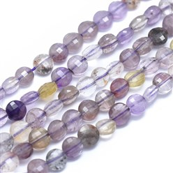 "Ametrine Natural Ametrine Beads Strands, Faceted, Flat Round, 4x2.5mm, Hole: 0.8mm; about 93pcs/strand, 15.15""(38.5cm)"
