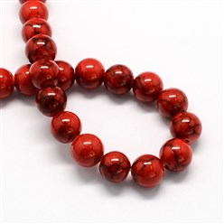 Red Dyed Synthetic Turquoise Gemstone Bead Strands, Round, Red, 6mm, Hole: 1mm; about 66pcs/strand, 15.7""