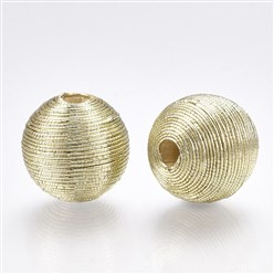 Gainsboro Polyester Cord Fabric Beads, with Wood Inside, Round, Gainsboro, 16~17x15.5~16mm, Hole: 3~4mm