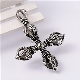 Cross 304 Stainless Steel Dorje Vajra Big Pendants, 62x50x12.5mm, Hole: 8.5x4.5mm
