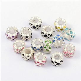 Alloy Enamel European Beads, with Grade A Rhinestone, Large Hole Beads, Column, 11x6mm, Hole: 5mm