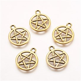 Tibetan Style Pendants, Flat Round with Pentagram, Lead Free and Cadmium Free, Antique Silver, 16.5mm in diameter, 1.8mm thick, hole: 2mm