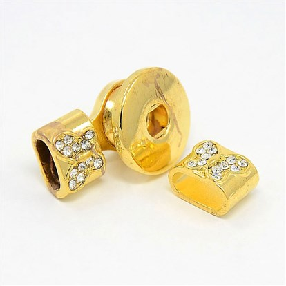 Alloy Rhinestone Leather Cord Clasp Makings, with Brass Snap Findings, Rectangle, 26x19x12mm, Hole: 4mm and 5x10mm-1