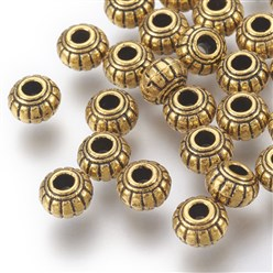 Antique Golden Tibetan Silver Beads, Lead Free and Cadmium Free, Barrel, Antique Golden Color, about 6mm long, 6mm wide, 4.5mm thick, hole: 1.5mm