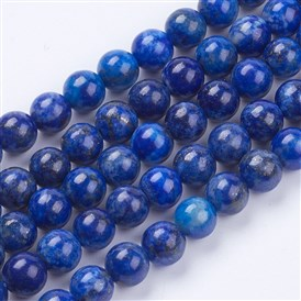 Natural Lapis Lazuli(Filled Color Glue) Beads Strands, Grade A, Round