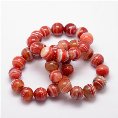 Natural Striped Agate Beads Stretch Bracelets, Round, Dyed & Heated-1