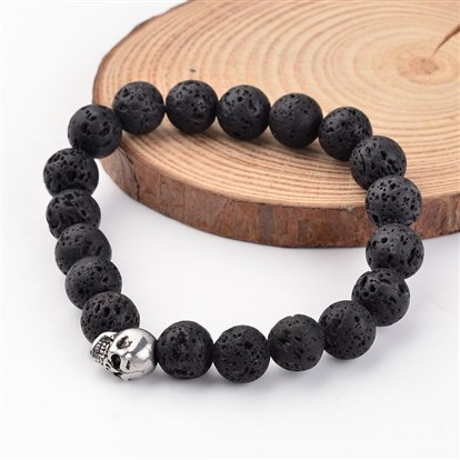 Skull Natural Lava Beaded Stretch Bracelets, with 304 Stainless Steel Beads, 54mm