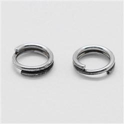 Platinum 925 Sterling Silver Spit Jump Rings, Platinum, 5x0.6mm; about 4.4mm inner diameter