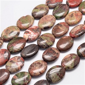Natural Multi-Color Agate Beads Strands, Oval, 25x18x8mm, Hole: 1mm; about 16pcs/strand, 15.75 inches