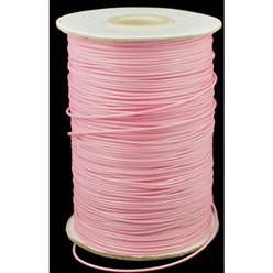 Pink Korean Waxed Polyester Cord, Bead Cord, Pink, 0.8mm; about 185yards/roll