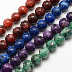 Natural Labradorite Beads Strands, Dyed & Heated, Round