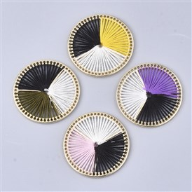 Cotton Thread Woven Pendants, with Alloy Findings, Flat Round, Golden
