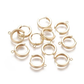 Brass Huggie Hoop Earring Findings, for Jewelry Making and Earring Repair, Real 18K Gold Plated