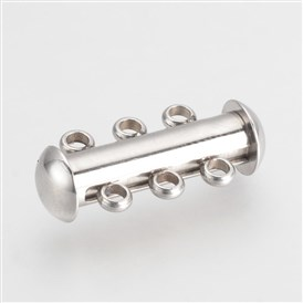 304 Stainless Steel Slide Lock Clasps, 3-Strand, 6-Hole, Tube