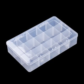 Plastic Bead Storage Containers, Removable 15 Compartments, Rectangle